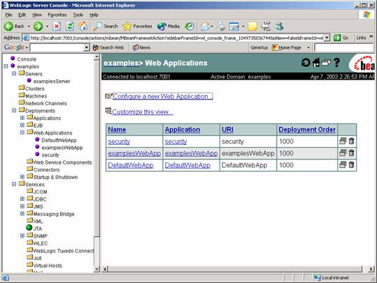 java web applications with weblogic 7.0
